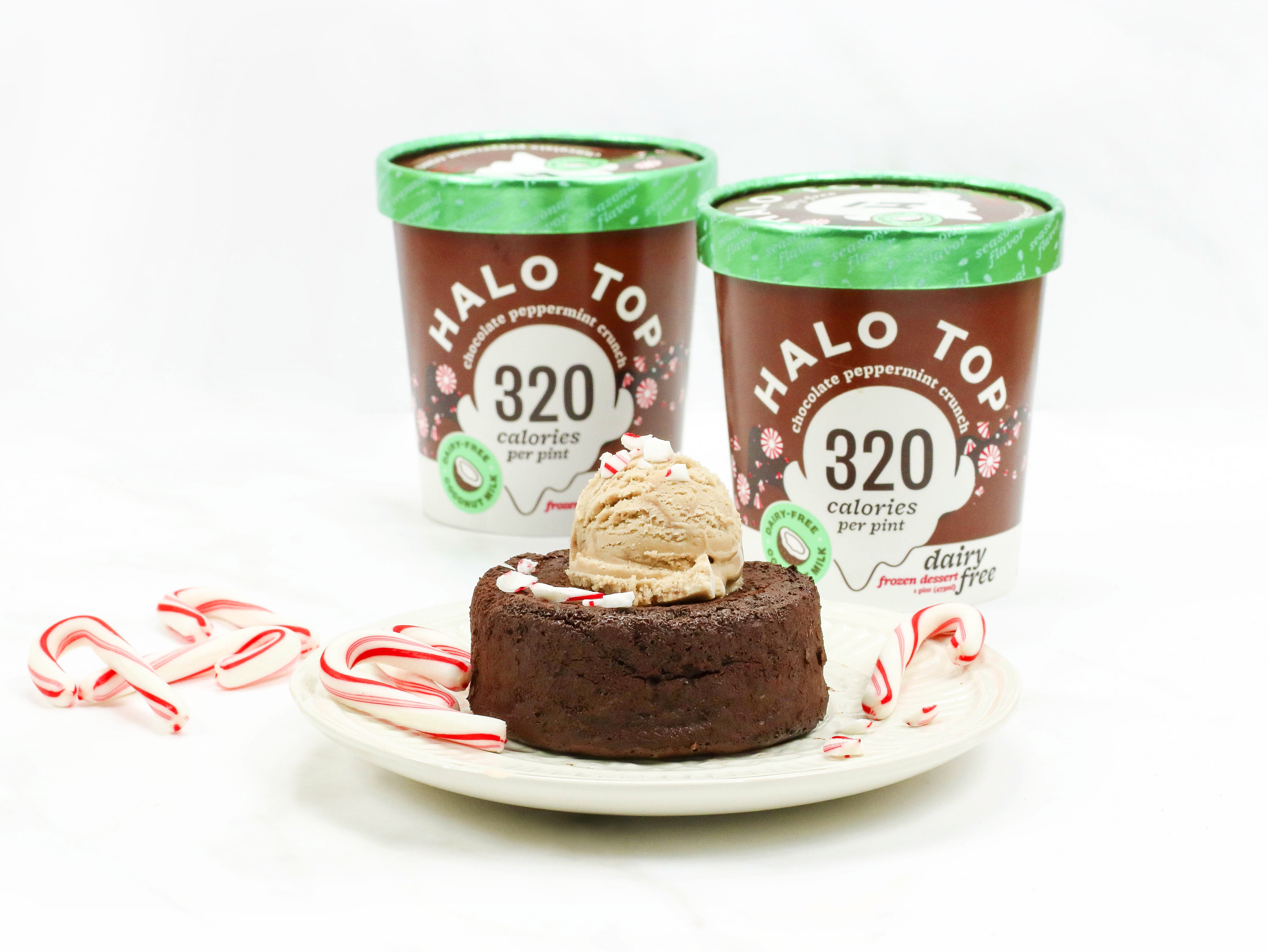 Molten Lava Chocolate Peppermint Crunch Cakes with two pints of Dairy-free Chocolate Peppermint Crunch